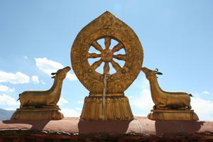 Buddhist Wheel and Deer